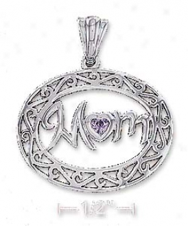 Ss 21x26mm Mom Pendant With Purple Cz Heart Scroll Border