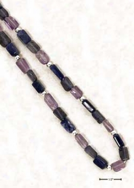 Ss 24 Inch Genuine Amethyst Iolite Sodalite Beaded Necklace