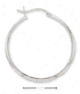 Ss 28mm 5mm Half Stock French Lock Hoop Earrings