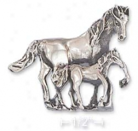 Ss 32 Mm High 3-d Mother Horse Her Baby Horse Pin