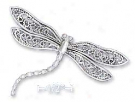 Ss 33x50mm Dragonfly With Filigree Wings Curved Body Pin