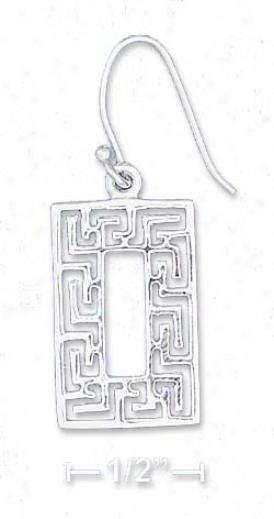 Ss 3/4 Inch X 1/2 Inch Greek Key Rectangle Earrings