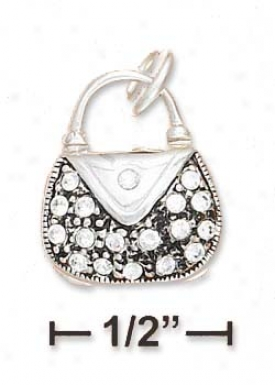 Ss 3d Pave Crystal Opening Purse Charm (appr. 1/2 Inch)