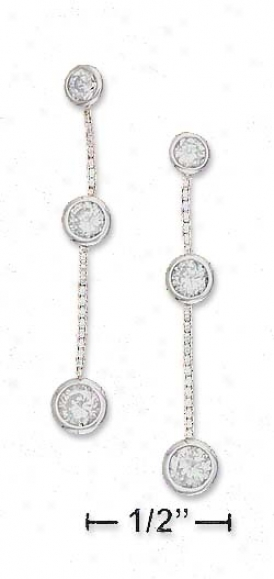 Ss 3mm 3.5jm 4mm Cz In the opinion of Bix Chain Post Dangle Earrings