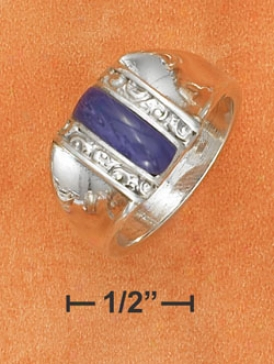 Ss 4x12mm Domed Charoite Bar Sides Ring With Tapered Ring