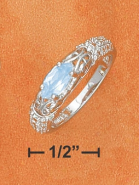 Ss 4x8m Livid Topaz Marq On Illusion Set Ring Diamond Accent