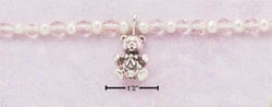 Ss 5 Inch Teddy Bear Dangle Bracelet With Pearls Pink Beads