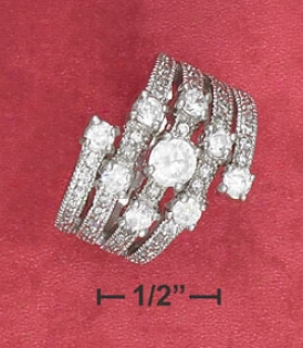 Ss 5 Pave Ring Cz Ring With 5m Center Cz 3m Surrounding Czs