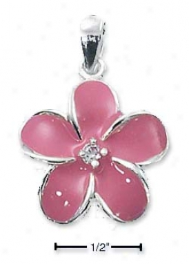 Ss 5 Petal Pink Enamel Flower Charm With Cz In Center