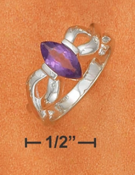 Ss 5x10mm Tension Set Amethyst Ring With Open Twist Shank