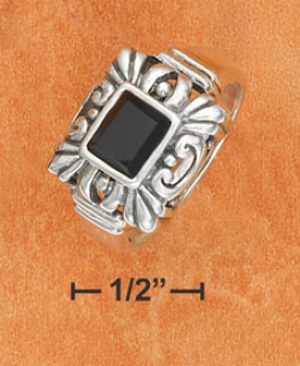 Ss 5x7mm Onyx Rectangle Ring With Fancy Filigree Frame