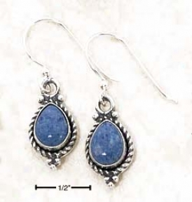 Ss 6x8mm Pear Denim Lapis Roped Put a ~ upon Dangle Earrings
