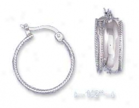 Ss 7/8 Inch Hoop Earrings Rope Edges On French Lock