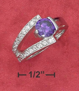 Ss 7mm Purple Cz Ring One Sided Partial Pave Split Shank