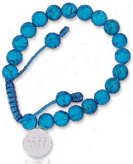 Ss 8m Synth Turquoise Bead Bracelet With 15m Long Life Tag