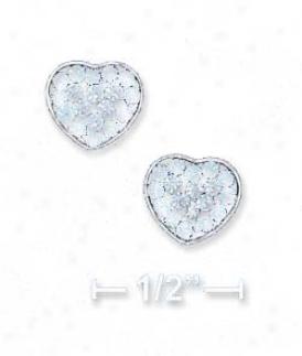 Ss 8mm Dark Bue Light Blue Crystal Heart Post Earrings