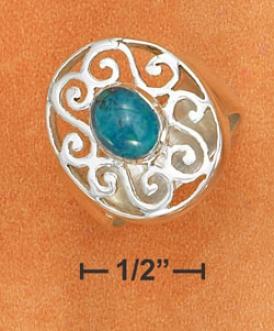Ss 8mm Ring 6x8mm Chrysocolla Stone Set 17x21m Filigree Ring