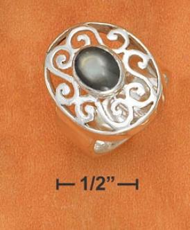 Ss 8mm Ring 6x8mm Gray Shell Stone Set 17x21m Filigree Ring