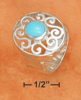 Ss 8mm Ring 6x8mm Turquoise Stonr Set 17x21mm Filigree Ring