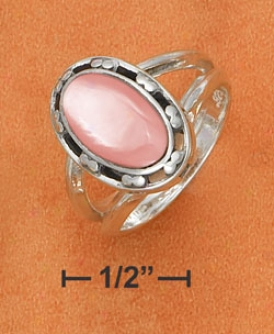 Ss 8x12mm Pink Mop Ring With Open Beaded Border Split Shank