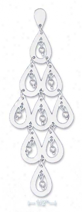 Ss 9 Teardrops With Inscribed 3mm Ball Dangle Post Earrings