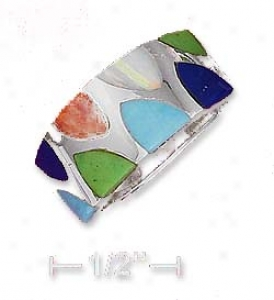 Ss 9mm Turquoise Lapis Lab Opal Spiny Oyster Inlay Ring