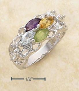 Ss Amethyst Citrine Blue Topaz White Topaz Peridot Ring