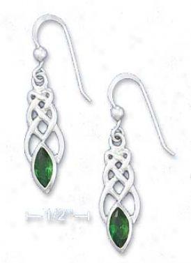 Ss Celtic Knot Earrings With 4x8mm Emerald-green Glass