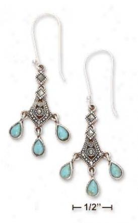 Ss Chandelier Marcasite Triple Turquoise Teardrop Earrings
