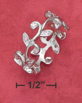 Ss Continuous Vine Ring With Pink Cz Leaves (appr. 8mm Wide)