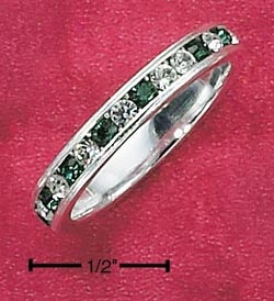 Ss Cz Synthetic Emerald May Eternity Ring 3mm Wide