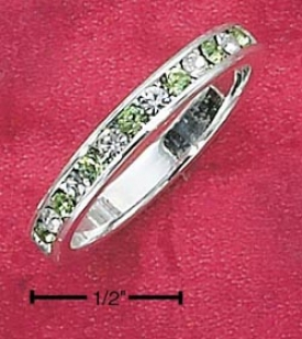 Ss Cz Synthetic Peridot August Eternal quality Ring 3mm Spacious