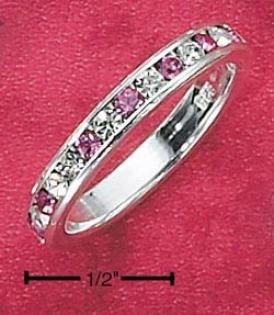 Ss Cz Synthdtic Pink Tourmaline October Eternity Ring 3mm