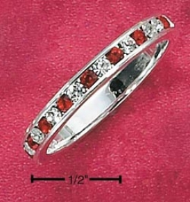 Ss Cz Synthetic Ruby July Eternity Ring 3mm Wide