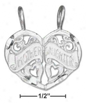 Ss Diamond Cut Two Piece Mother/daughter Heart Cahrm