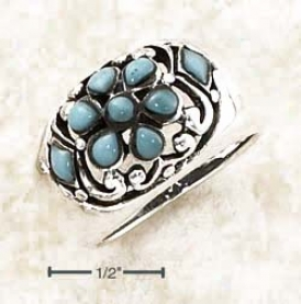 Ss Dome Multiple Turquoise Stones In Fko5al Pattern Ring