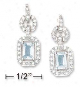 Ss Fancy Cz Post Dangle With Blue Topaz 6x4mm Earring
