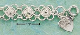 Ss Fancy Flat Wire Flowers Wih Raised Center Bracelet