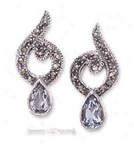 Ss Fancy Marcasite Post Earrings 5 X 7mm Blue Topaz Tear