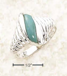 Ss Fancy Twist Shrimp Ring With Turquoise Stone Inset
