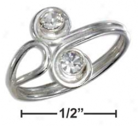 Ss Fugure Eight With Double Czs On Be broken Shank Toe Ring