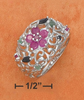 Ss Filigree Ruby Flower Ruby Emerald Sapphire Chips Ring