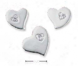 Ss Flat Heart Post Earring Heart Cz Matching Pendant Set