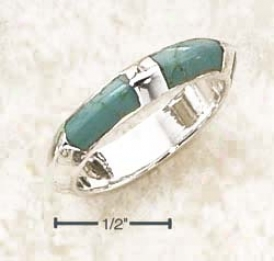 Ss Flattened Puff Ring Three Inlay Turquoise Stones Ring