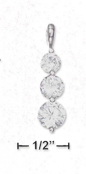 Ss Graduated 5mm 6mm 7mm Clear Cz Pendant (appr. 1 Inch)