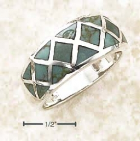 Ss Graduated Cross Hatch Design Turquoise Inlay Ring