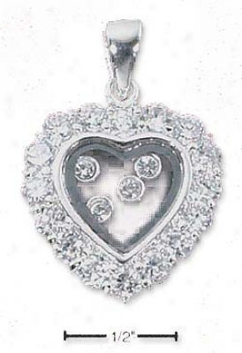 Ss Heart Cz Bordered Window Charm With 4 Czs Floating Inside