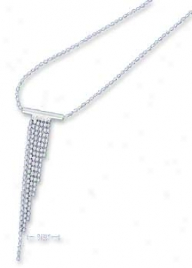 Ss Italian 16-18 Inch Adj. Dc Bead Waterfall Slide Necklace