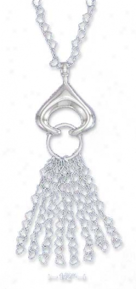Ss Italian 16 In. Open Heart Neck Triangular Pendant Tassels
