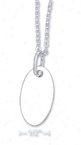 Ss Italian 18i 1.5mm Cable Necklace 19x25mm Engravable Oval